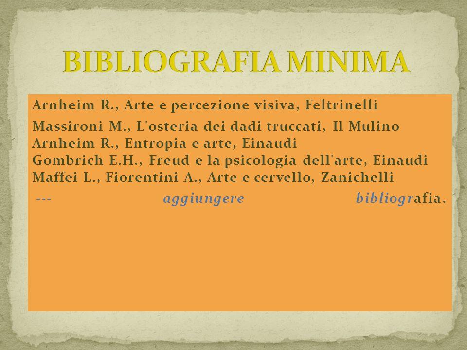 BIBLIOGRAFIA MINIMA Arnheim R., Arte e percezione visiva, Feltrinelli