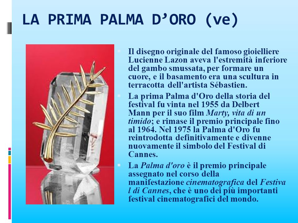 LA PRIMA PALMA D'ORO (ve)