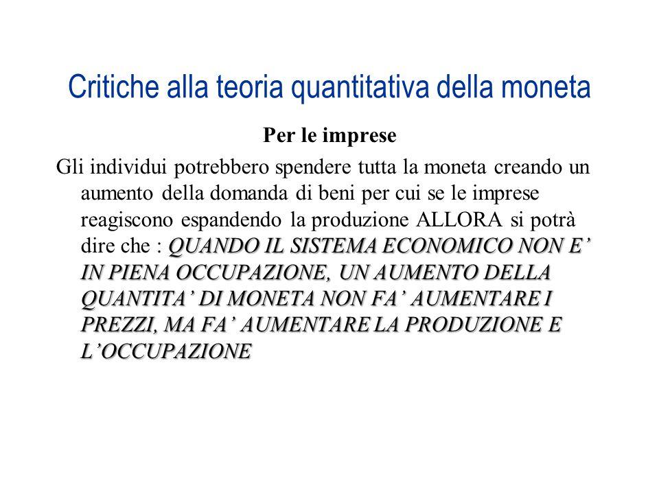 Critiche alla teoria quantitativa della moneta