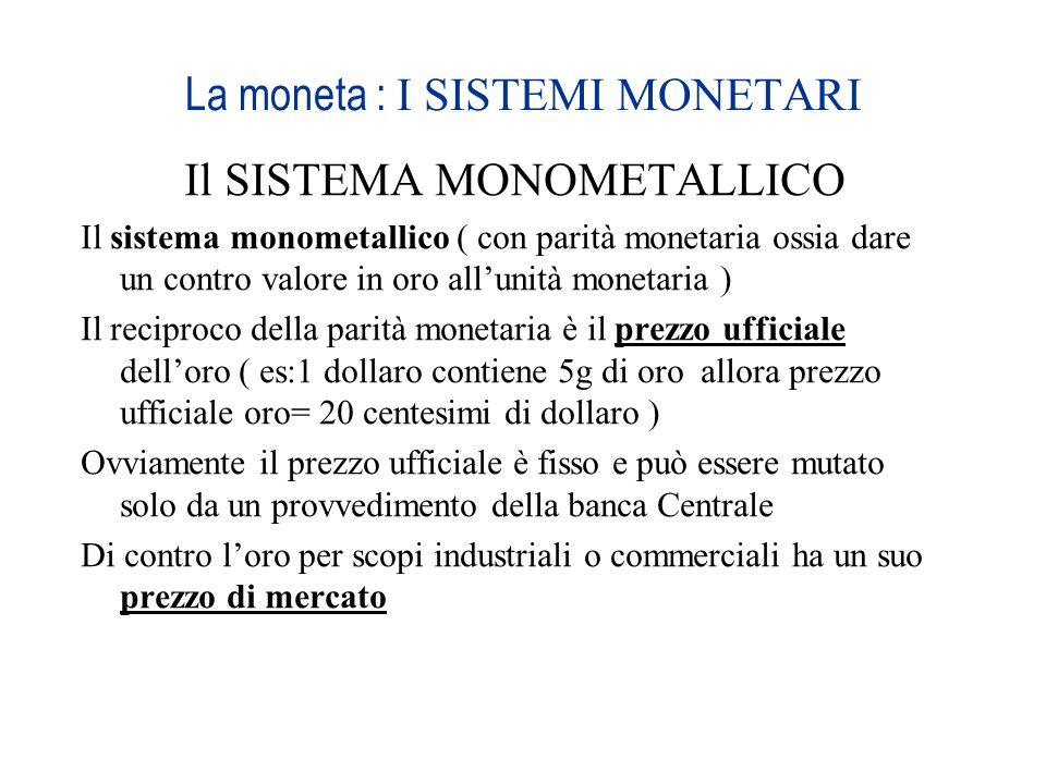 La moneta : I SISTEMI MONETARI