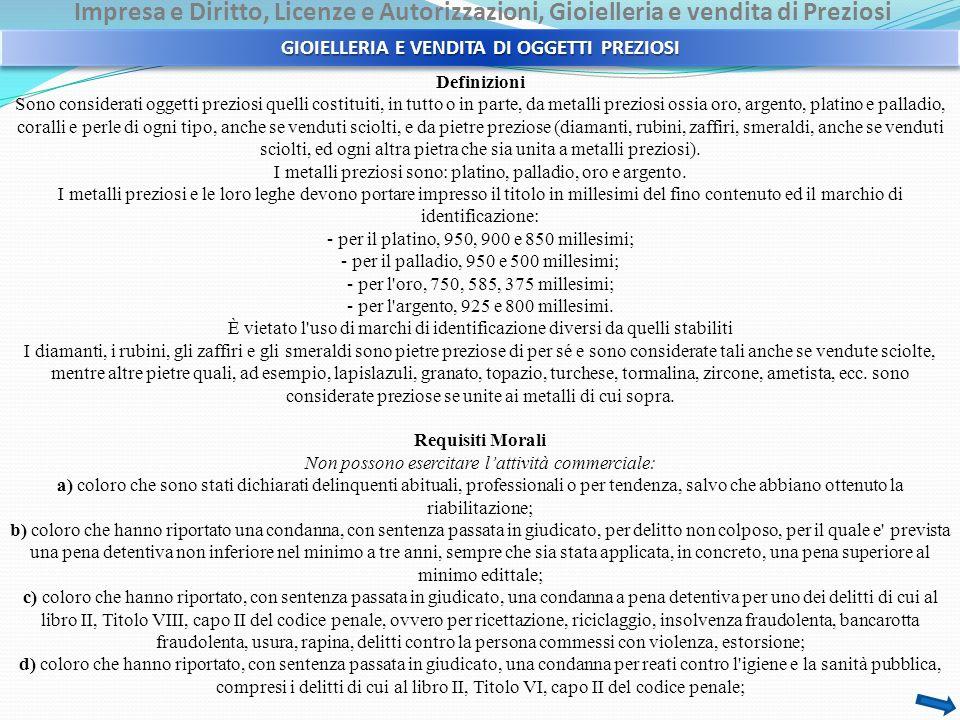 GIOIELLERIA E VENDITA DI OGGETTI PREZIOSI