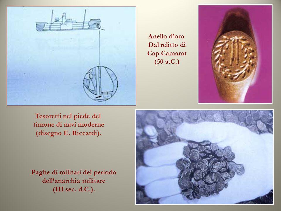 Tesoretti nel piede del timone di navi moderne (disegno E. Riccardi).