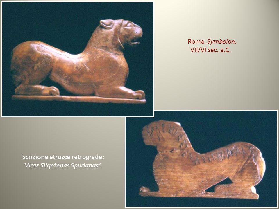 Iscrizione etrusca retrograda: Araz Silqetenas Spurianas .