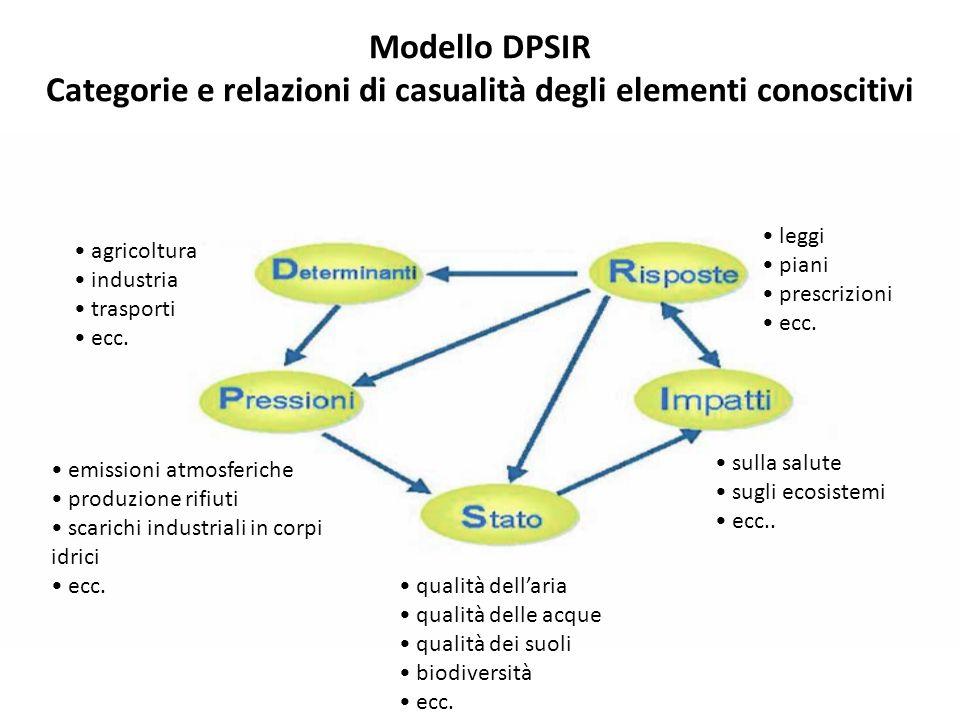 Modello DPSIR Categorie e relazioni di casualità degli elementi conoscitivi