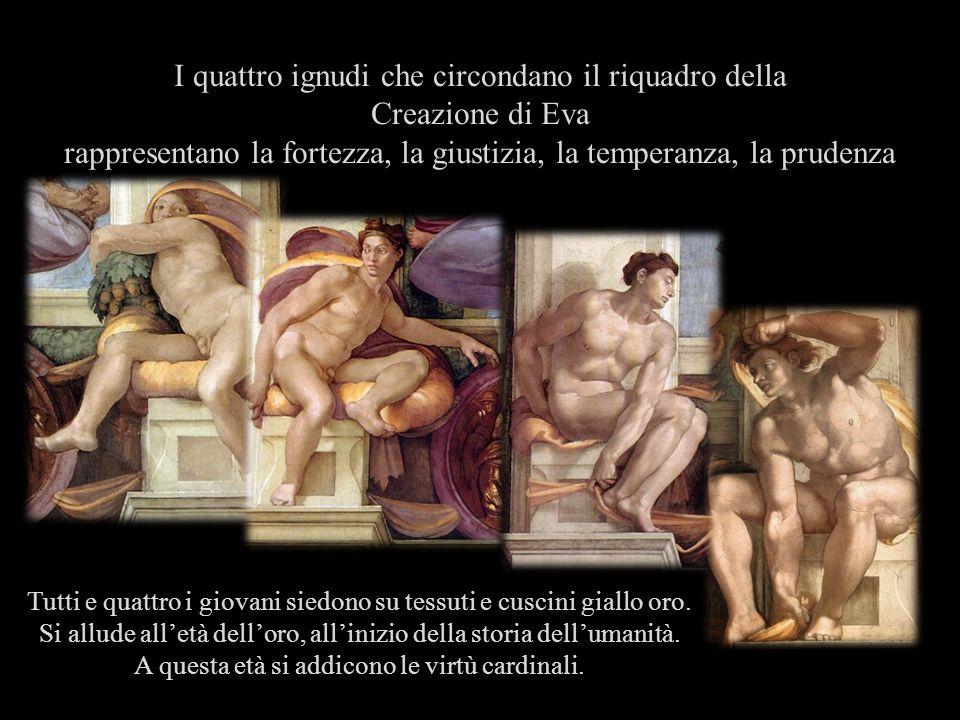 I quattro ignudi che circondano il riquadro della Creazione di Eva