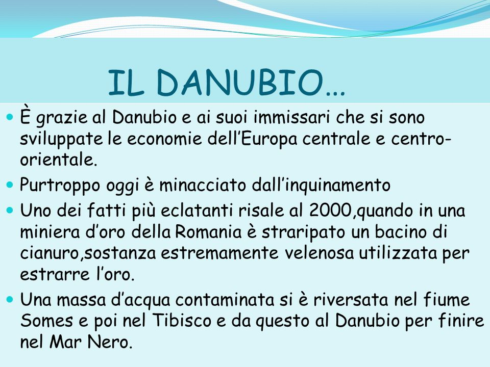 IL DANUBIO… È grazie al Danubio e ai suoi immissari che si sono sviluppate le economie dell'Europa centrale e centro-orientale.