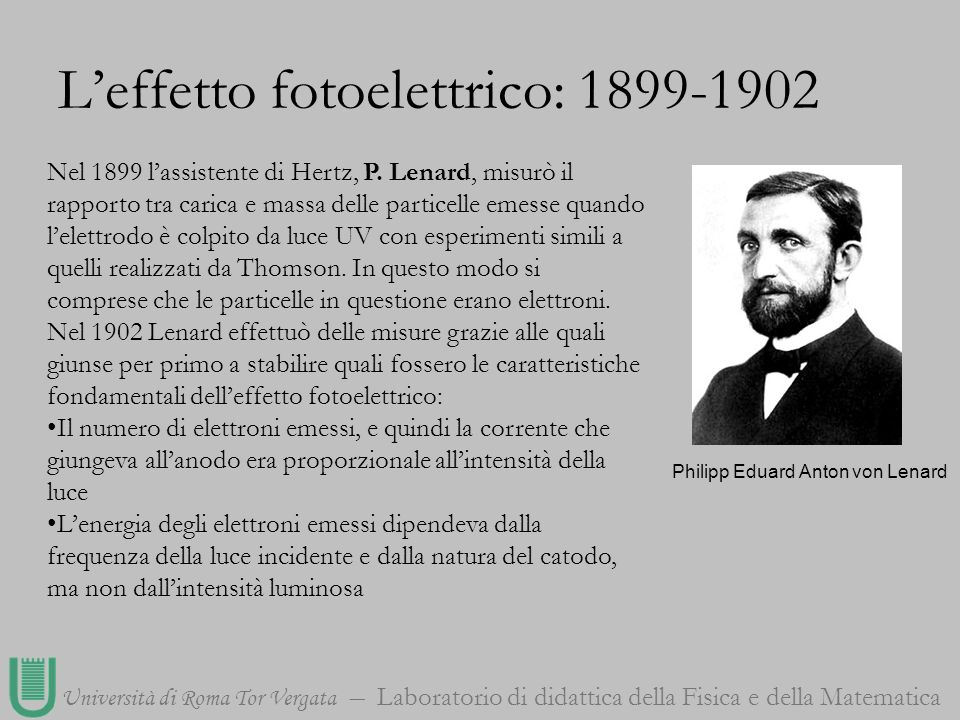 L'effetto fotoelettrico: 1899-1902
