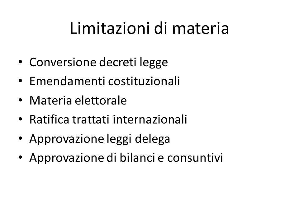 Limitazioni di materia