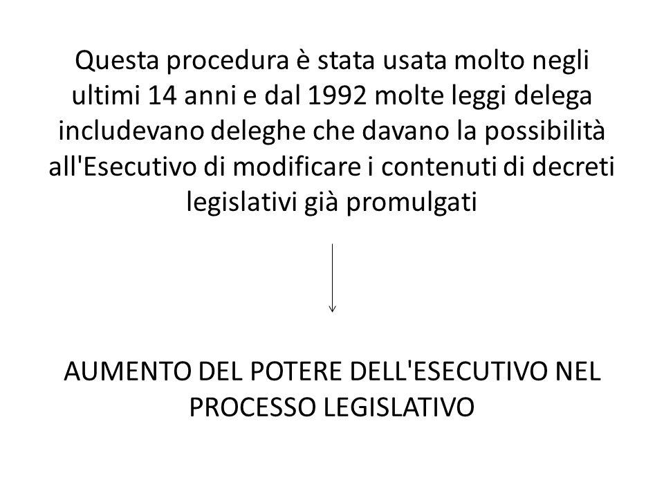 AUMENTO DEL POTERE DELL ESECUTIVO NEL PROCESSO LEGISLATIVO