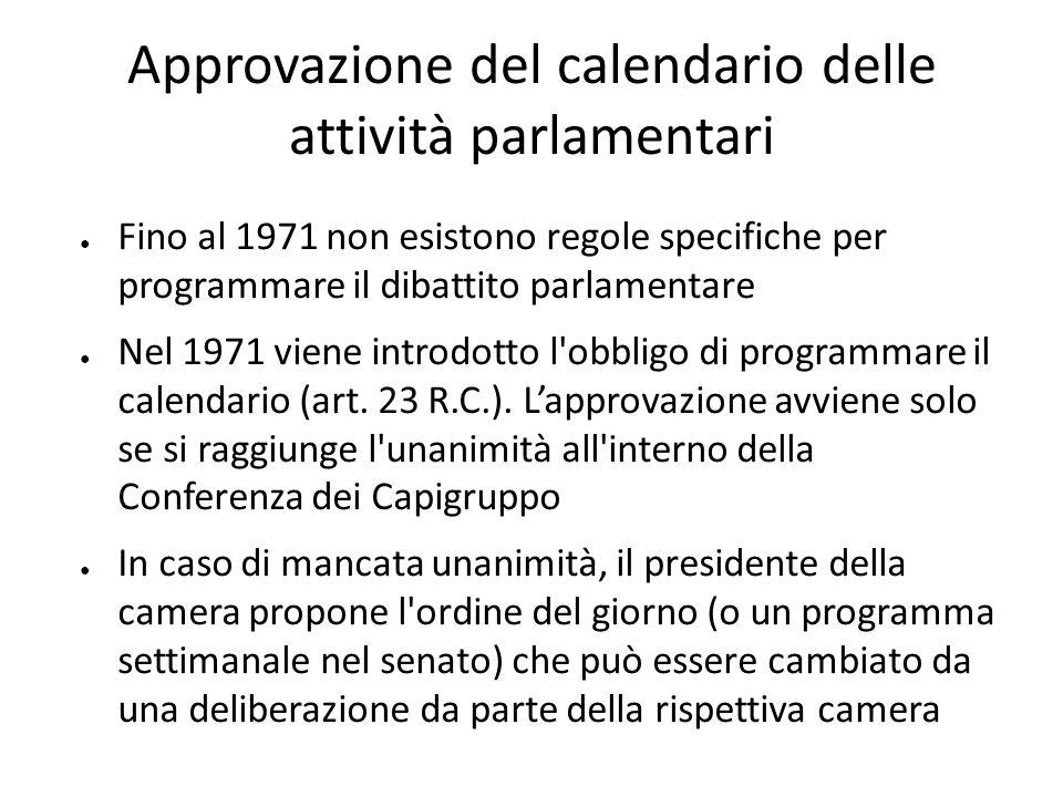Approvazione del calendario delle attività parlamentari