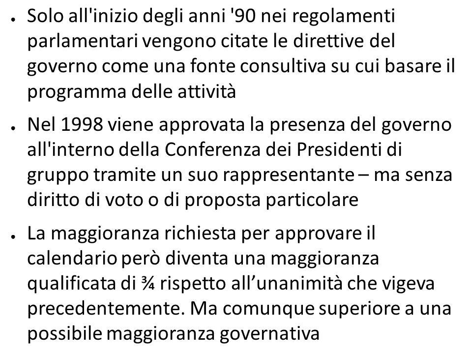 Solo all inizio degli anni 90 nei regolamenti parlamentari vengono citate le direttive del governo come una fonte consultiva su cui basare il programma delle attività