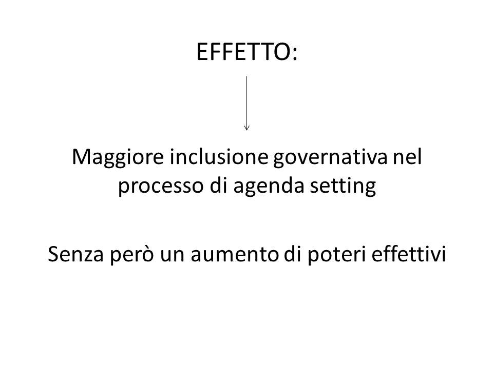 EFFETTO: Maggiore inclusione governativa nel processo di agenda setting.