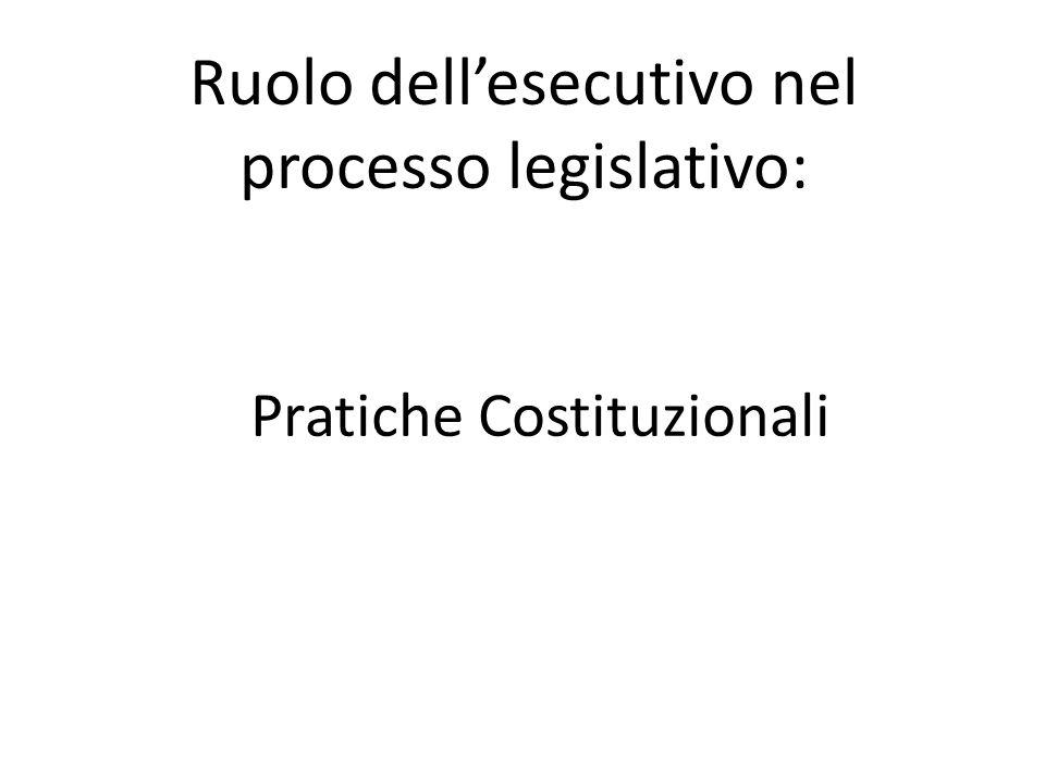 Ruolo dell'esecutivo nel processo legislativo: