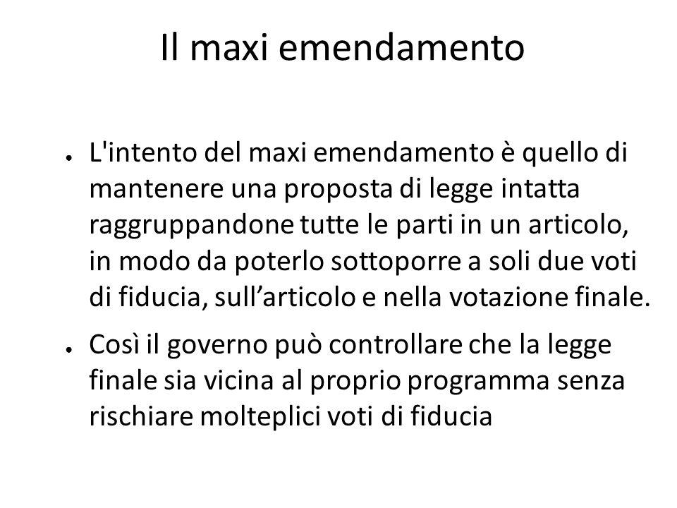 Il maxi emendamento