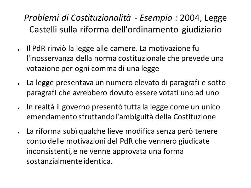 Problemi di Costituzionalità - Esempio : 2004, Legge Castelli sulla riforma dell ordinamento giudiziario