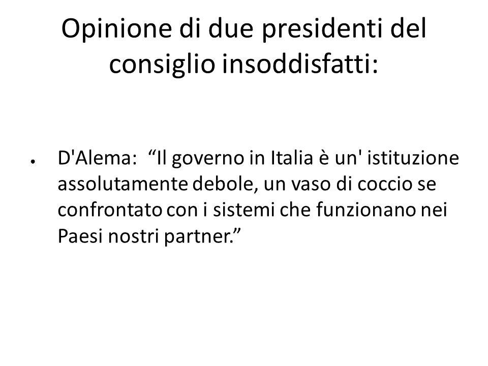 Opinione di due presidenti del consiglio insoddisfatti: