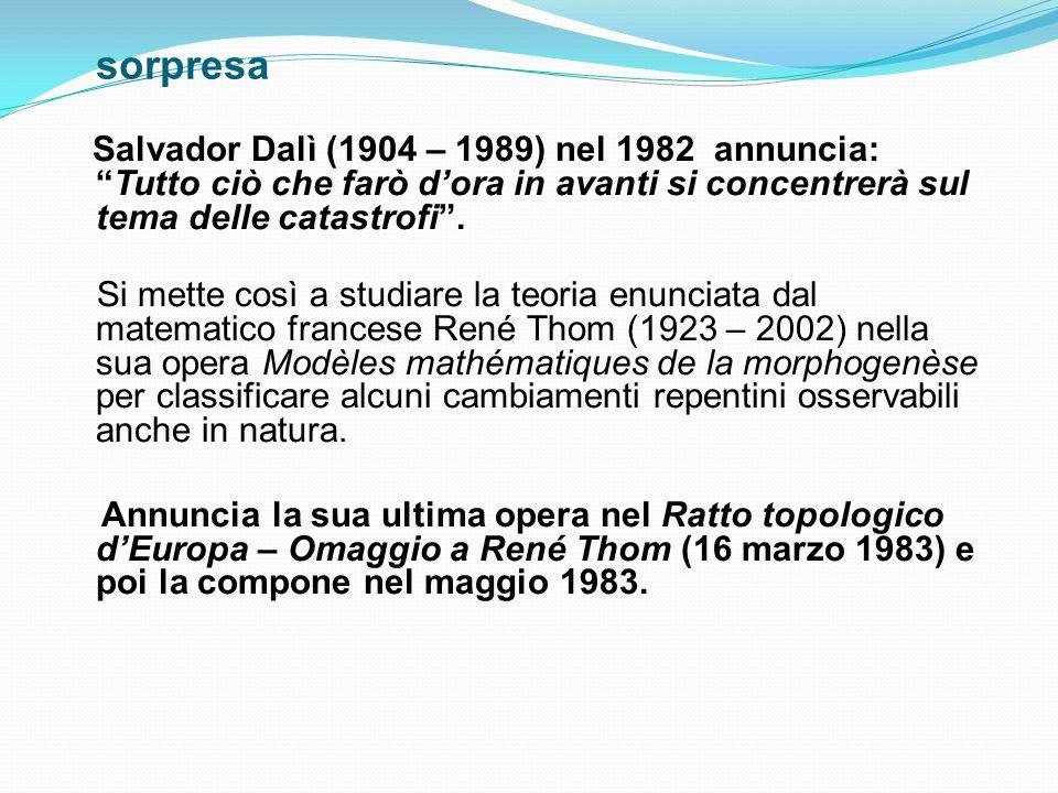 sorpresa Salvador Dalì (1904 – 1989) nel 1982 annuncia: Tutto ciò che farò d'ora in avanti si concentrerà sul tema delle catastrofi .