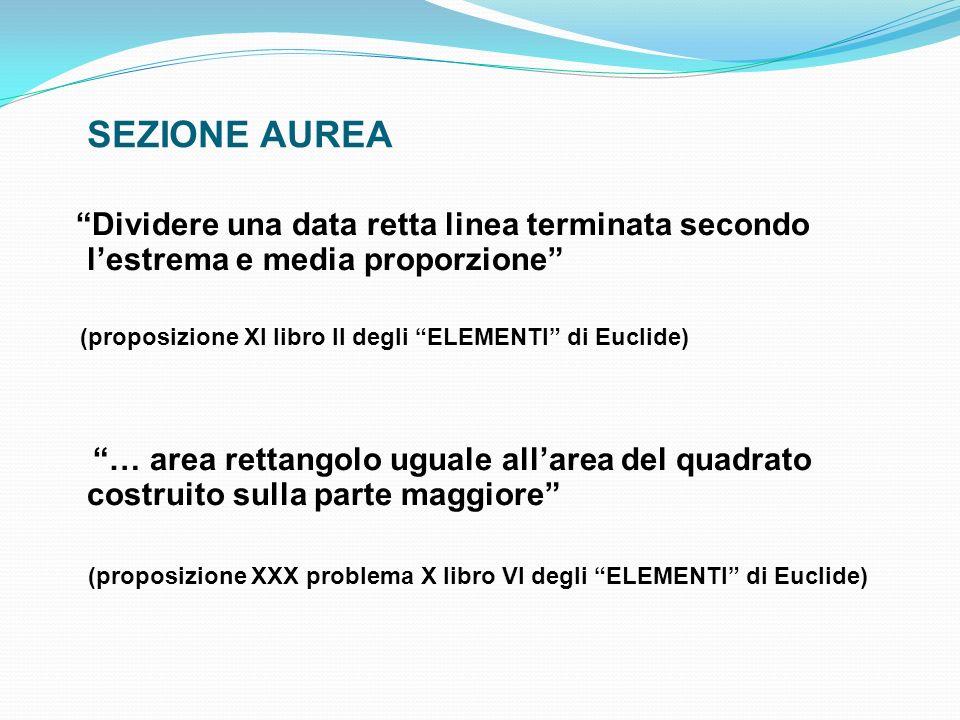 SEZIONE AUREA Dividere una data retta linea terminata secondo l'estrema e media proporzione (proposizione XI libro II degli ELEMENTI di Euclide)
