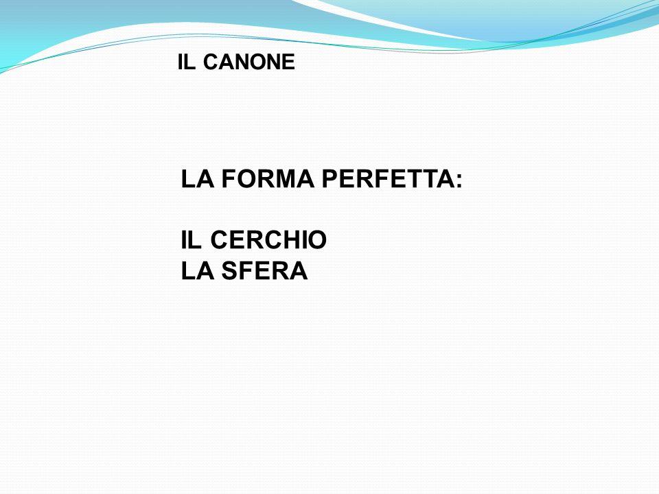 IL CANONE LA FORMA PERFETTA: IL CERCHIO LA SFERA