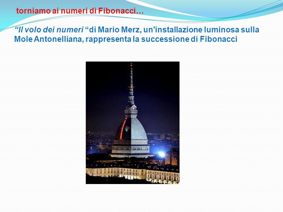 torniamo ai numeri di Fibonacci… Il volo dei numeri di Mario Merz, un installazione luminosa sulla Mole Antonelliana, rappresenta la successione di Fibonacci