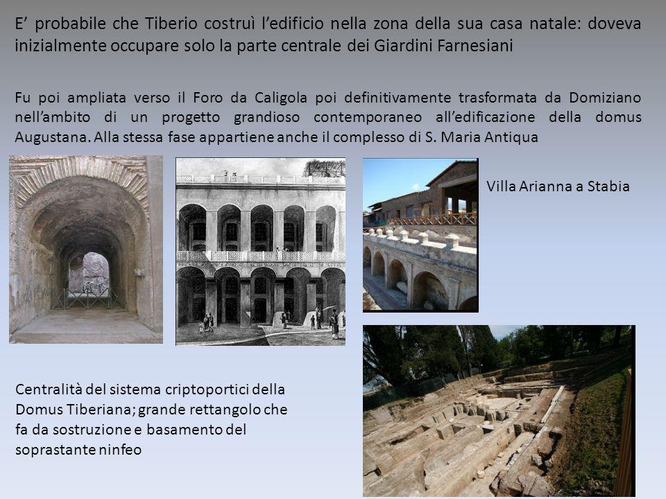 E' probabile che Tiberio costruì l'edificio nella zona della sua casa natale: doveva inizialmente occupare solo la parte centrale dei Giardini Farnesiani