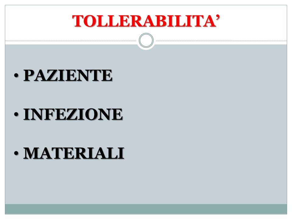 TOLLERABILITA' PAZIENTE INFEZIONE MATERIALI