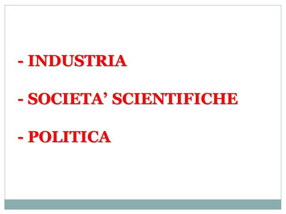 - INDUSTRIA - SOCIETA' SCIENTIFICHE - POLITICA