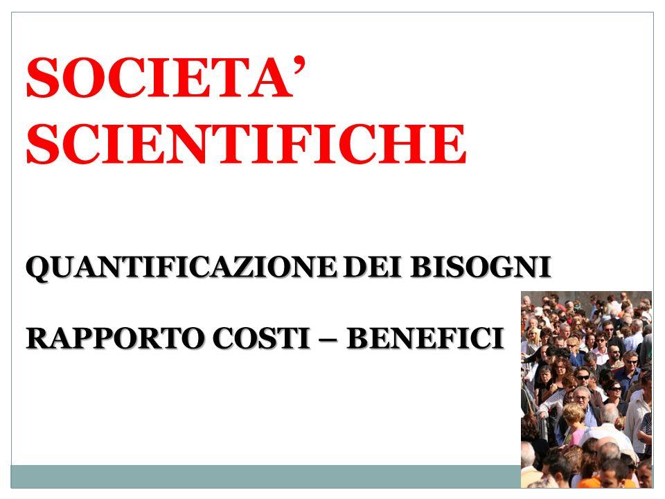 SOCIETA' SCIENTIFICHE QUANTIFICAZIONE DEI BISOGNI RAPPORTO COSTI – BENEFICI