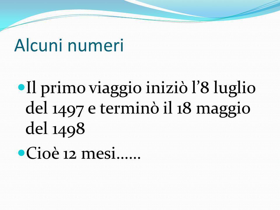 Alcuni numeri Il primo viaggio iniziò l'8 luglio del 1497 e terminò il 18 maggio del 1498.
