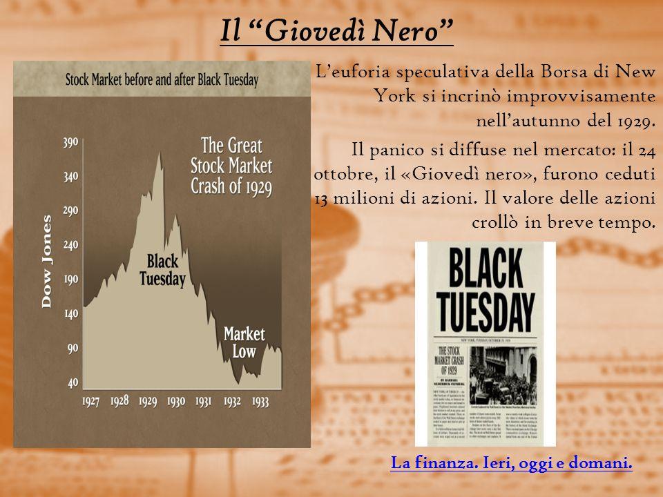 Il Giovedì Nero L'euforia speculativa della Borsa di New York si incrinò improvvisamente nell'autunno del 1929.