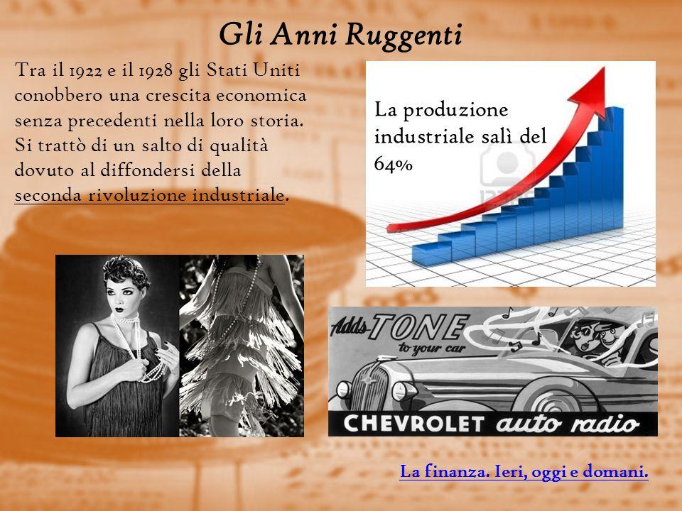 Gli Anni Ruggenti La produzione industriale salì del 64%
