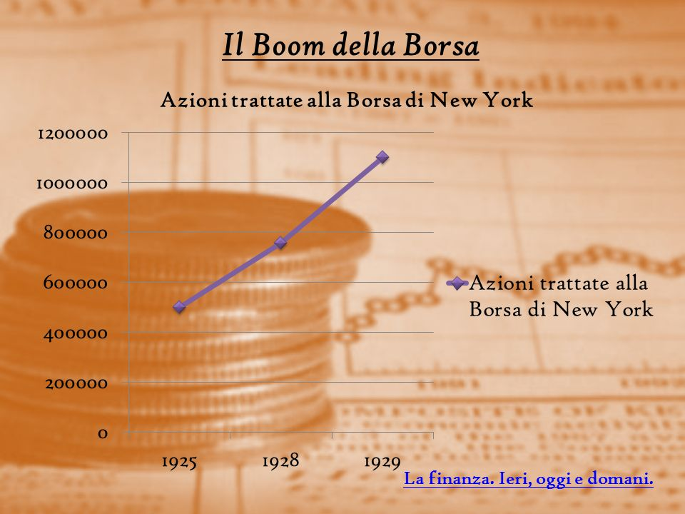 Il Boom della Borsa La finanza. Ieri, oggi e domani.