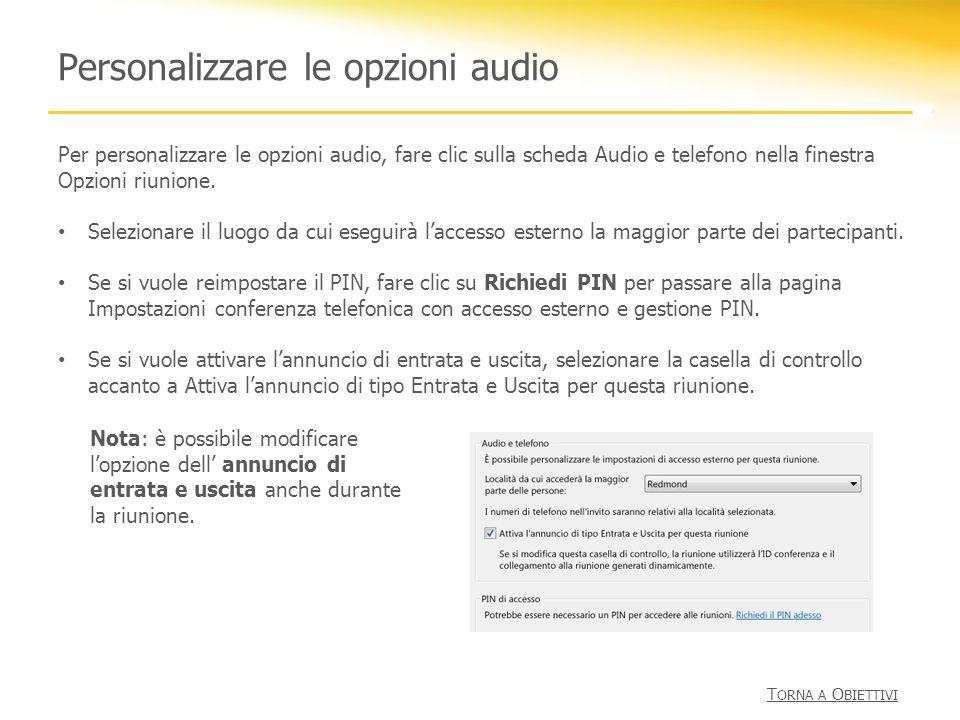 Personalizzare le opzioni audio
