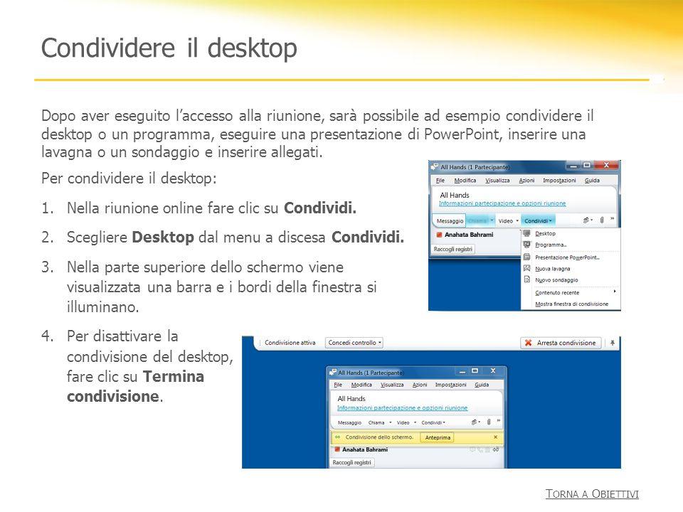 Condividere il desktop