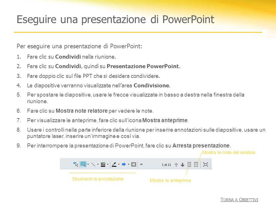 Eseguire una presentazione di PowerPoint