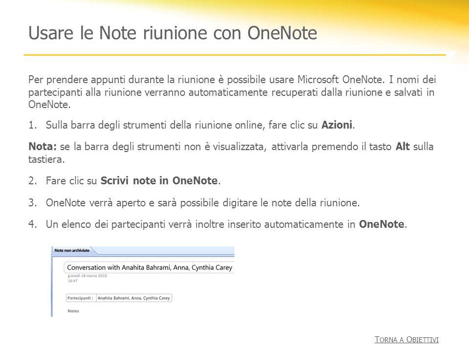 Usare le Note riunione con OneNote