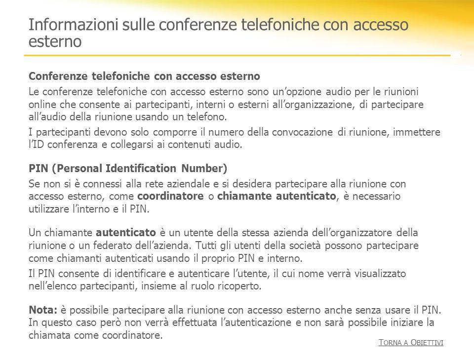 Informazioni sulle conferenze telefoniche con accesso esterno