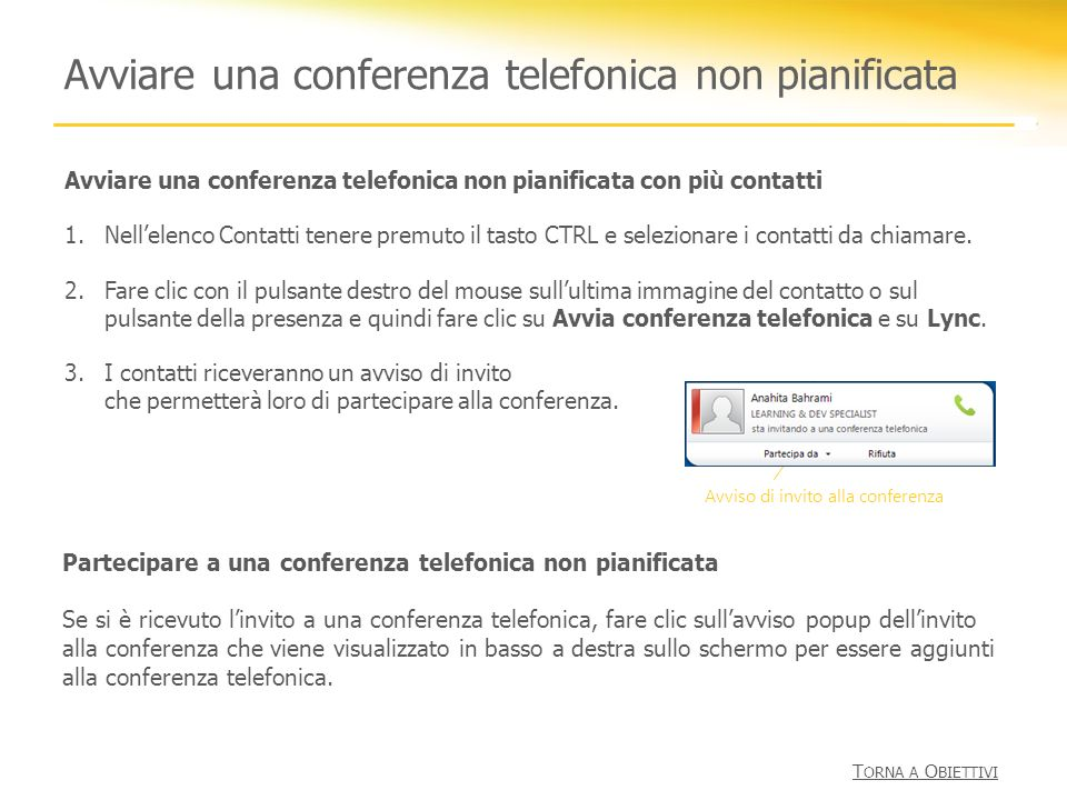 Avviare una conferenza telefonica non pianificata