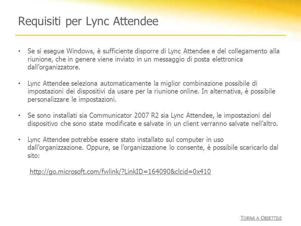 Requisiti per Lync Attendee