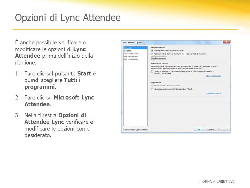 Opzioni di Lync Attendee