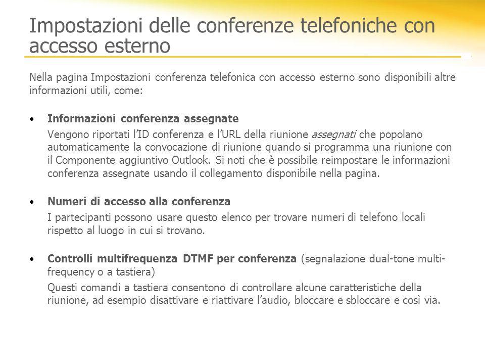 Impostazioni delle conferenze telefoniche con accesso esterno