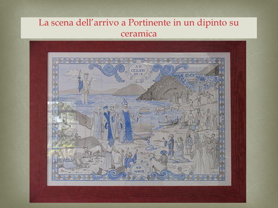 La scena dell'arrivo a Portinente in un dipinto su ceramica