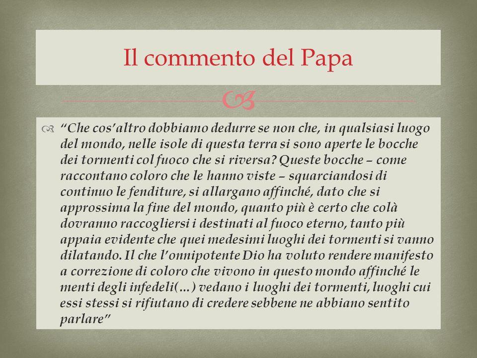 Il commento del Papa