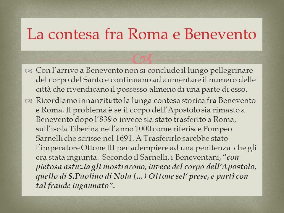 La contesa fra Roma e Benevento