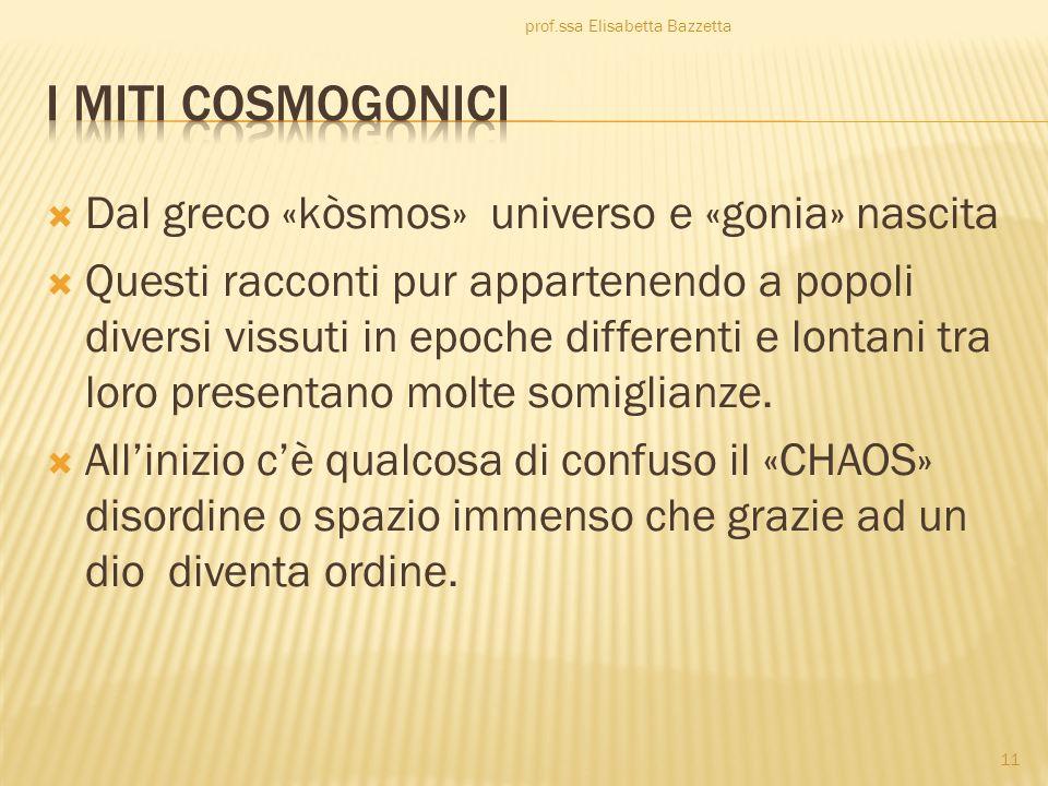 I miti cosmogonici Dal greco «kòsmos» universo e «gonia» nascita