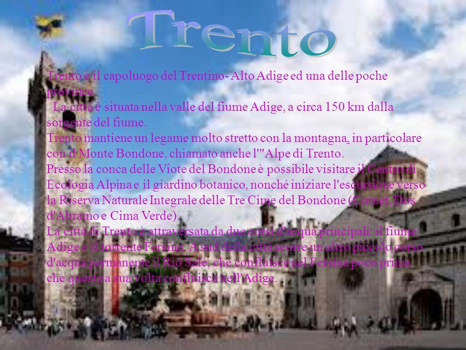 Trento Trento è il capoluogo del Trentino- Alto Adige ed una delle poche province.