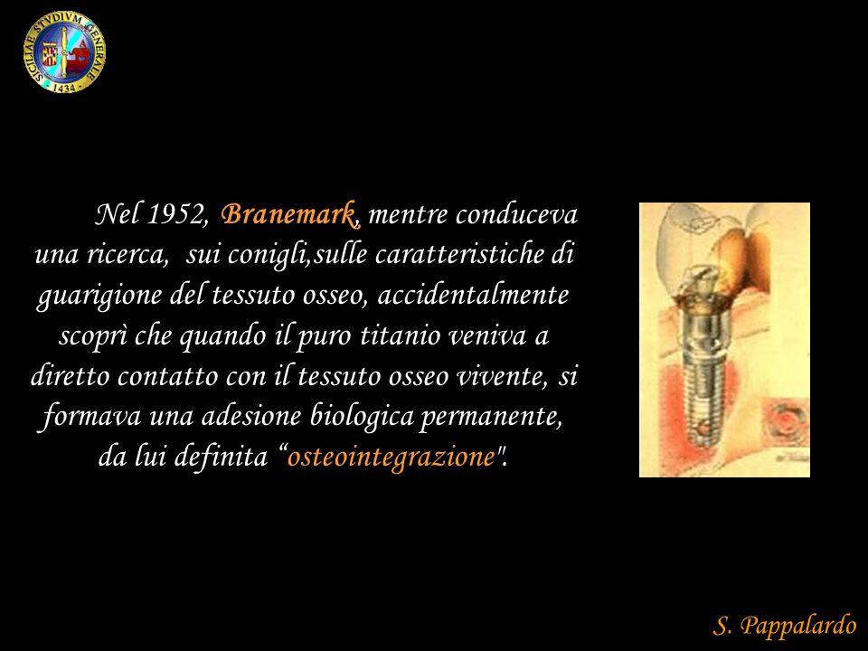 Nel 1952, Branemark, mentre conduceva una ricerca, sui conigli,sulle caratteristiche di guarigione del tessuto osseo, accidentalmente scoprì che quando il puro titanio veniva a diretto contatto con il tessuto osseo vivente, si formava una adesione biologica permanente, da lui definita osteointegrazione .