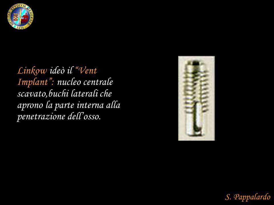 Linkow ideò il Vent Implant : nucleo centrale scavato,buchi laterali che aprono la parte interna alla penetrazione dell'osso.