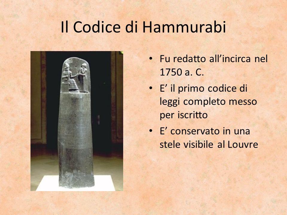 Il Codice di Hammurabi Fu redatto all'incirca nel 1750 a. C.