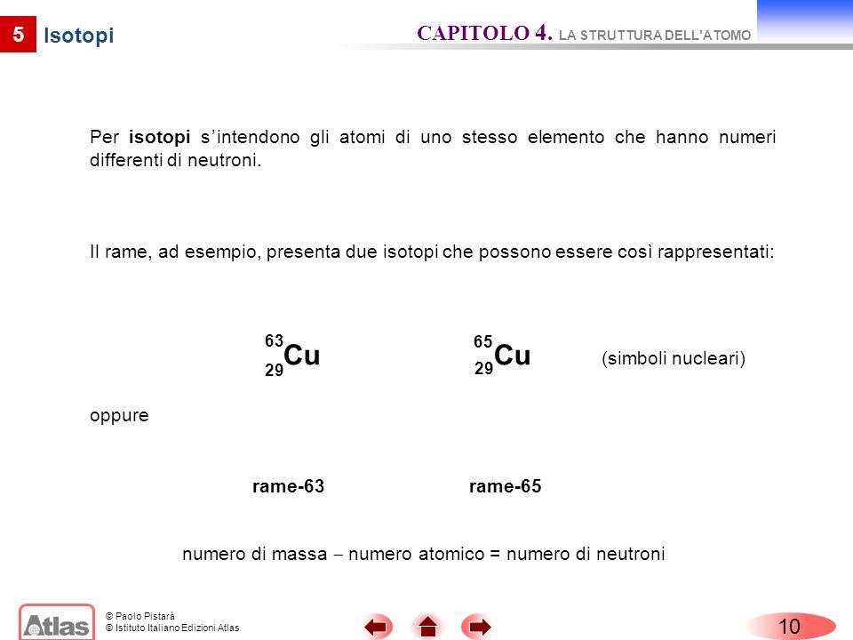 numero di massa  numero atomico = numero di neutroni